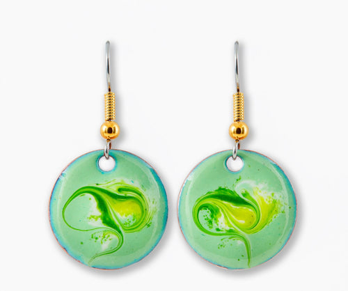 Maeb Enamels - Strandhill Green - Small Drop Earrings