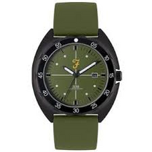Load image into Gallery viewer, Mens Sport Silver Sandblast Watch with a Green Silicone Strap