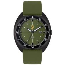 Mens Sport Silver Sandblast Watch with a Green Silicone Strap