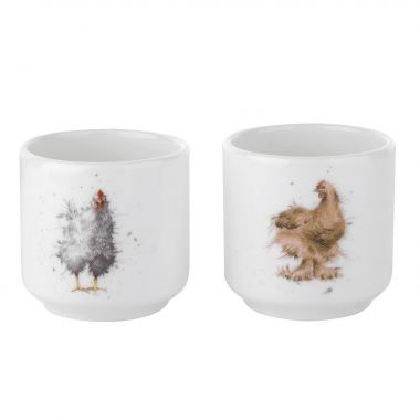 Wrendale Designs Egg Cups Set of 2 Chickens  (Royal Worcester)