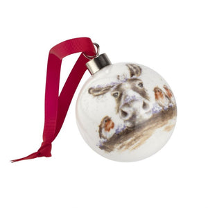 Royal Worcester Wrendale Designs Christmas Decorations The Christmas Donkey Donkey & Robin
