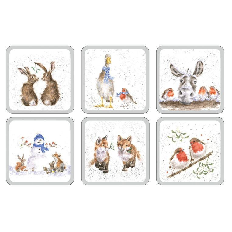 Wrendale Designs Christmas Coasters Set of 6 (Pimpernel)