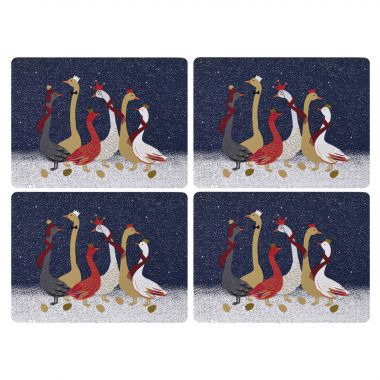 Sara Miller London Portmeirion Geese Christmas Placemats Set of 4