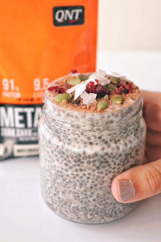 proteina metapure chocolate blanco chia pudding