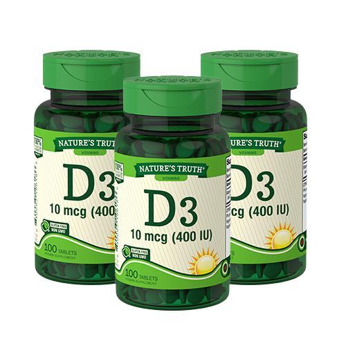 Pack Familiar Vitamina D3 400 IU - 3 x 100 comprimidos