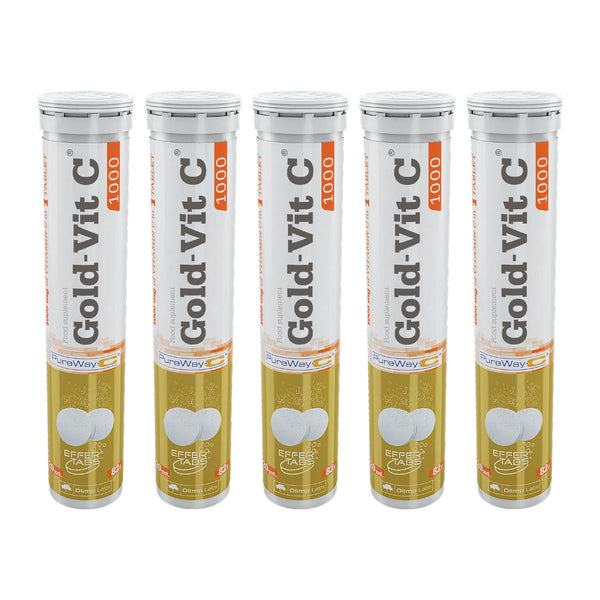 Pack 5 Vitamina C Efervescente 1000 Mg - 20 Tabletas