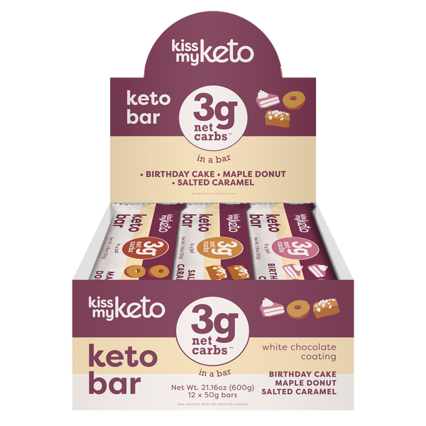 Caja 12 Barras Keto Bar Chocolate Blanco Mix Sabores
