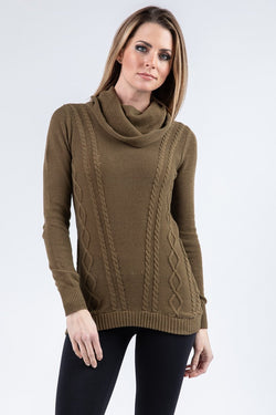 COWL NECK CABLE KNIT SWEATER