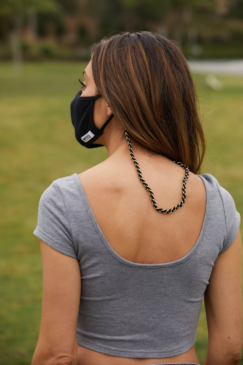 THE EBONY CLIP - BLACK BRAIDED CHAIN MASK CLIP
