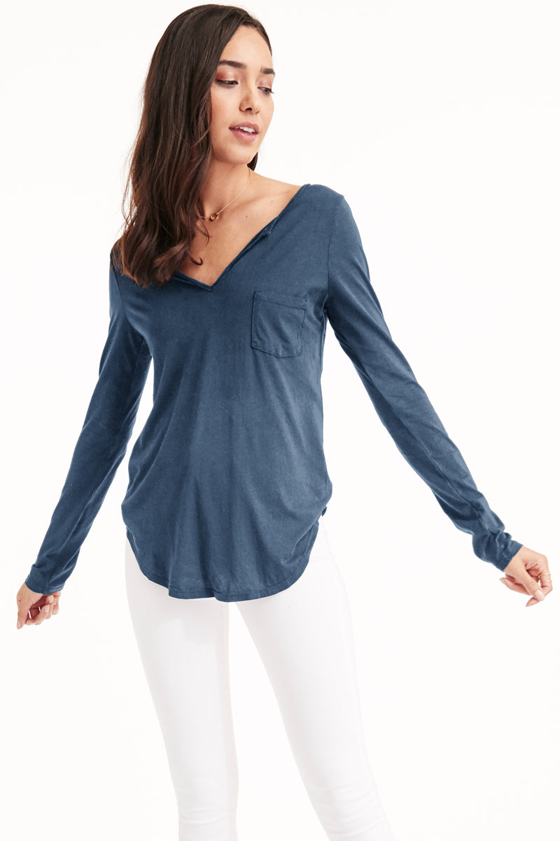 LONG SLEEVE OPEN HENLEY - RESORT
