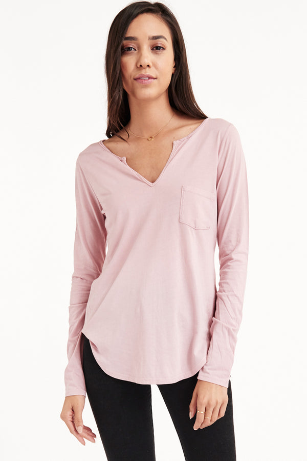 PINK POWER LONG SLEEVE OPEN HENLEY - ZEPHYR