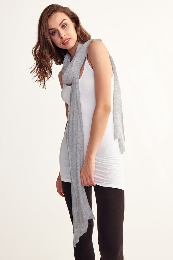SUMMER SKINNY ZINGO SCARF - HEATHER GREY