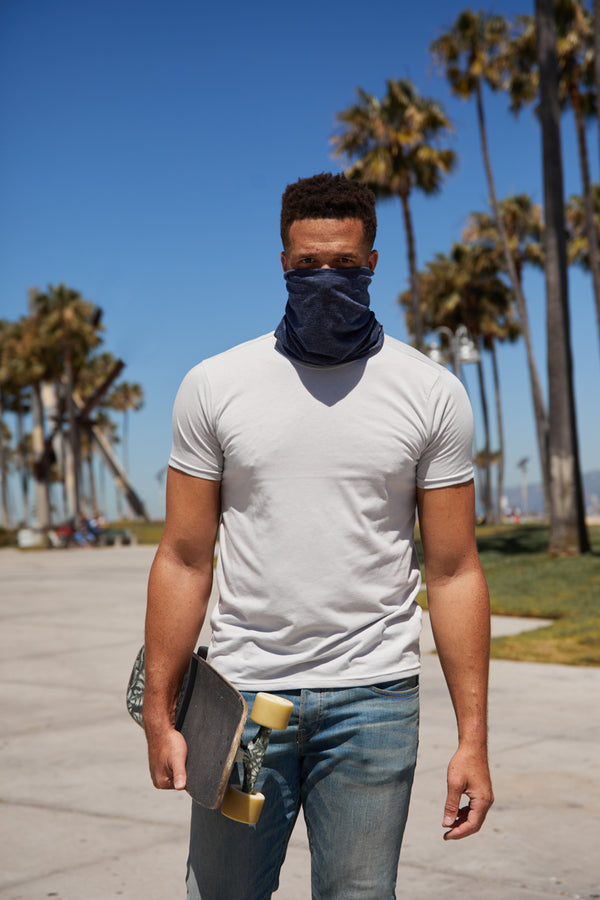 THE CALI WRAP - HEATHER BLUE WRAP MASK
