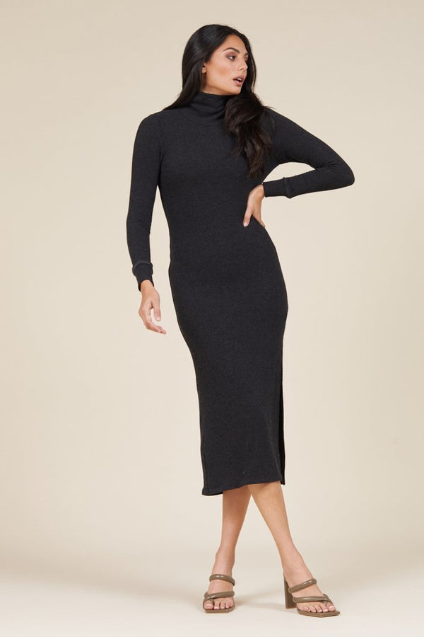 ALL IN ASSYMETRICAL TURTLENECK DRESS