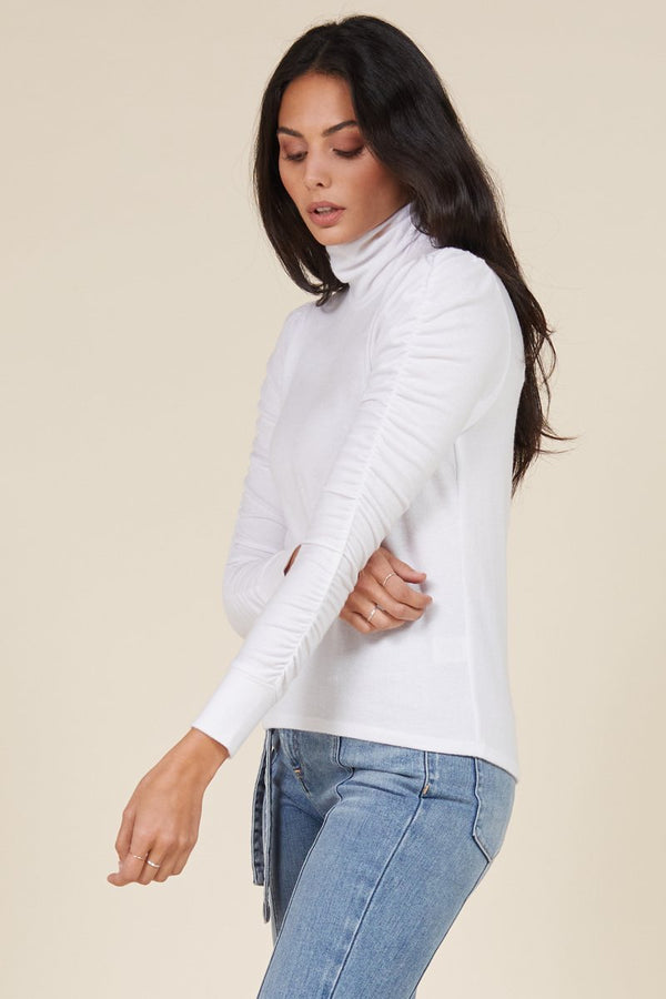 MONROE SHIRRED SLEEVE TURTLENECK