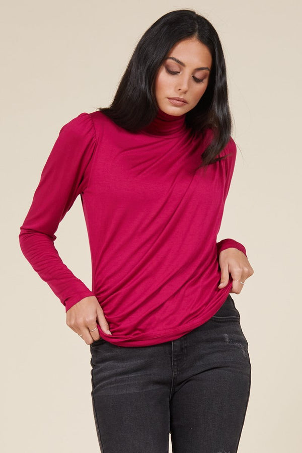 CONTESSA PLEATED TURTLENECK TOP