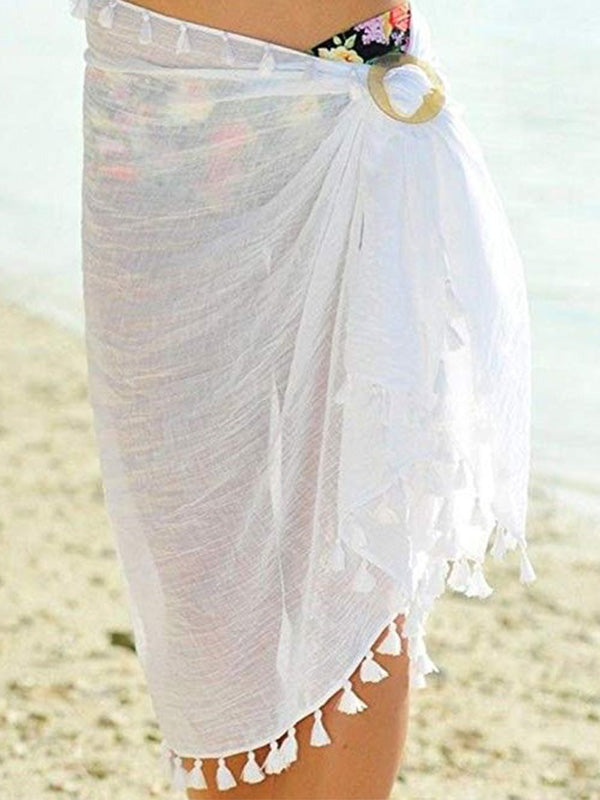 Plain Side Slit Tasseled Hem Swimming Dress
