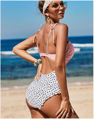 Dalmation Print Cut Out Front Monokini One Piece Swimsuit
