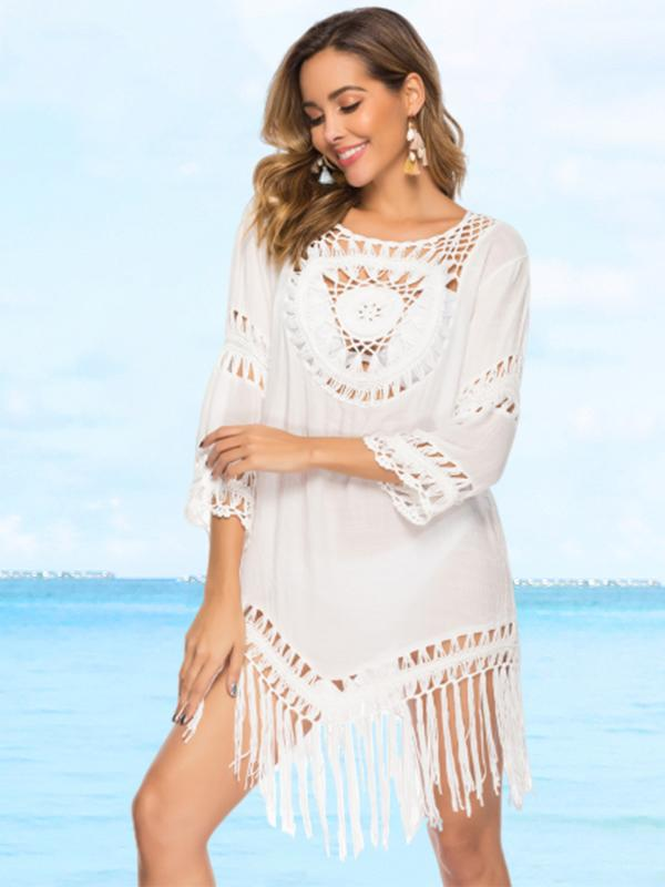 Crochet Lace Cover Up With Fringe Trim
