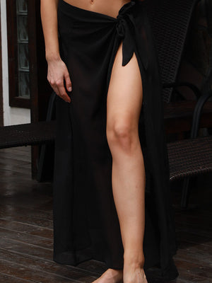 Plain Knot Side Slit Maxi Dress