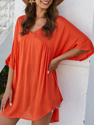 Casual V-neck Solid Half Sleeve Ruffled Over Size Top