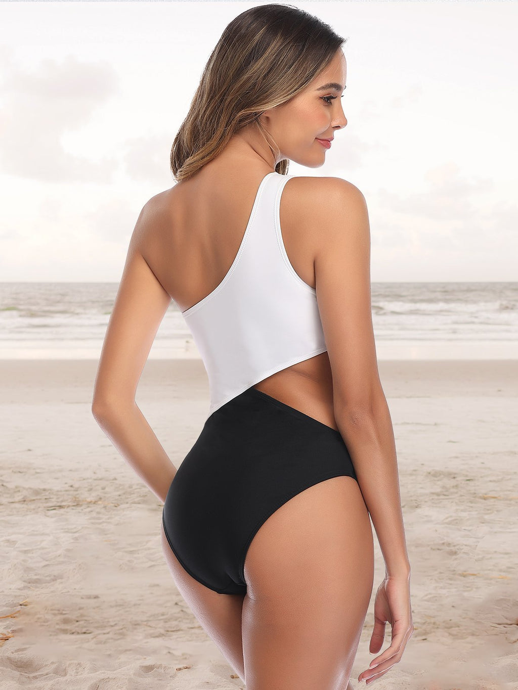(US Stock & Local Delivery) Two Tone One Shoulder One Piece Swimwear
