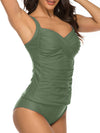 Criss Cross Ruched Top With Low Waist Tankini Set