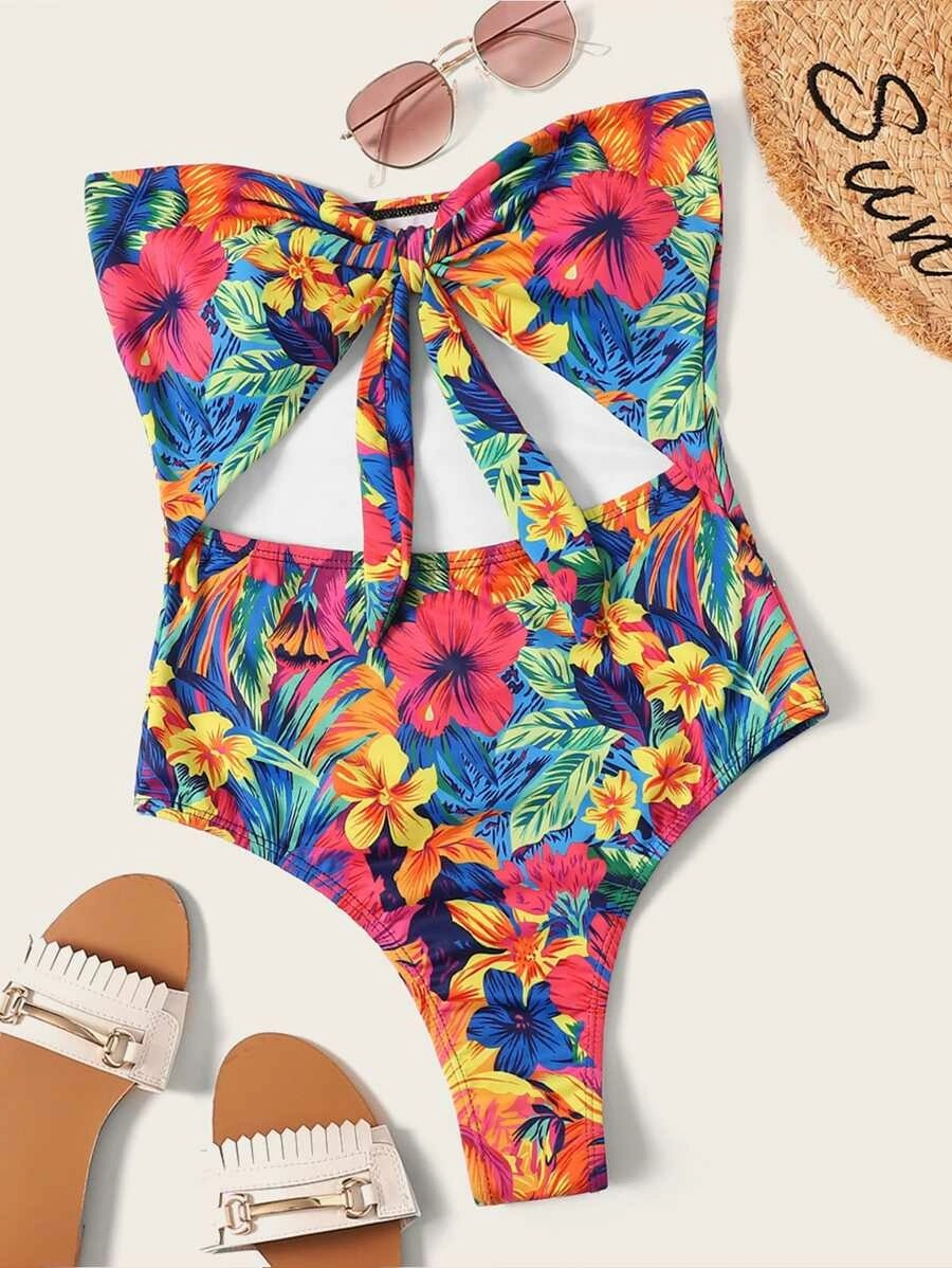 Random Floral Print Cut Out Tie Front One Piece Swimwear