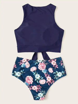 (US Stock & Local Delivery) Knot Hem Top With Random Floral Bikini Set Swimwear
