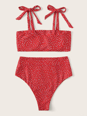 Polka Dots Strappy Top With High Waist Bikini Set