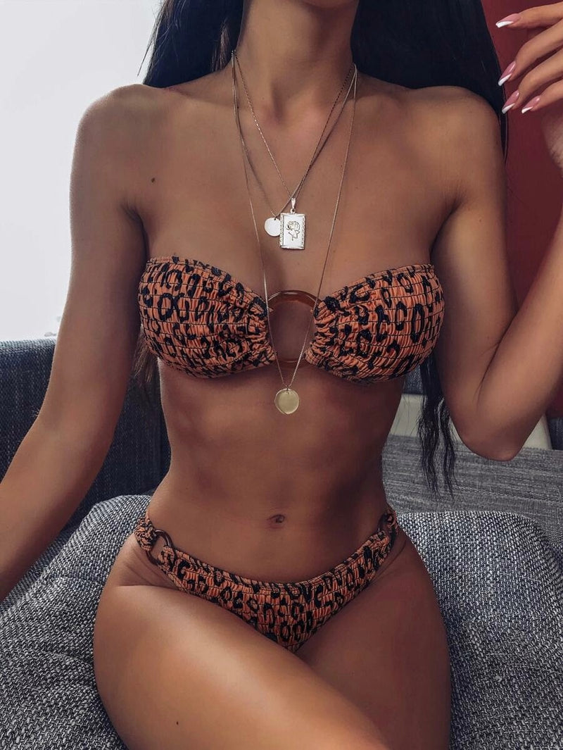 Leopard Ring Linked Bandeau With High Cut Bikini Set