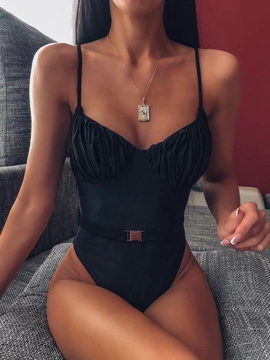 Sexy Ruched Belted High Cut One Piece Swimwear
