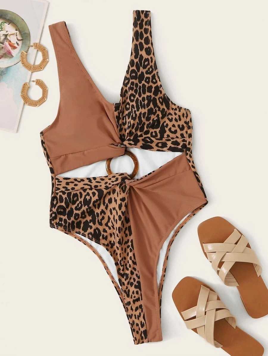 Leopard Ring Linked Color Block One Piece Swimwear