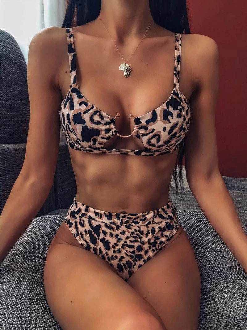 Leopard Ring Linked Top With High Waist Bikini Set