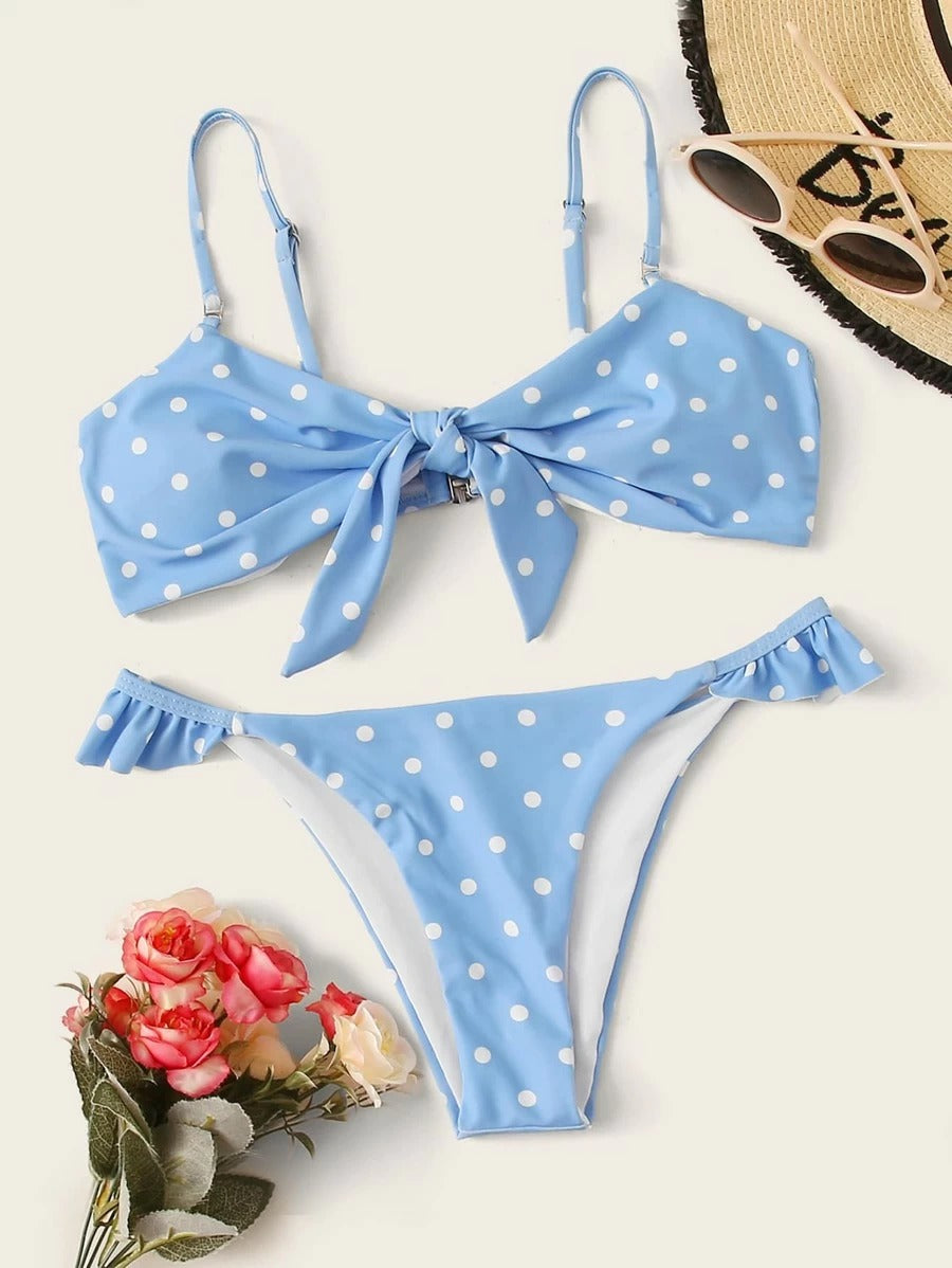 Cute Polka Dot Fold Top With Ruffled High Cut Bikini Set