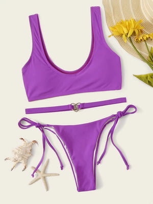 Solid Top With Tie Side Belted Bikini Set