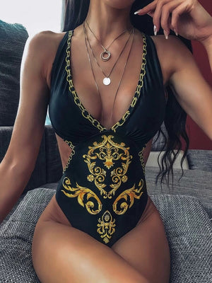 Baroque Print Criss Cross One Piece Swimwear