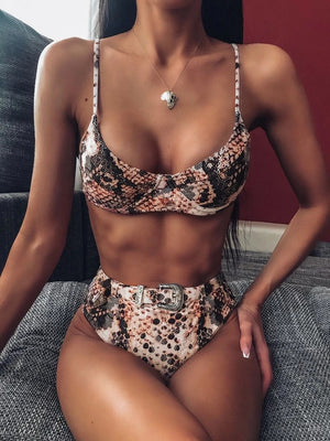 Snakeskin Underwire Top With High Waist High Cut Bikini Set