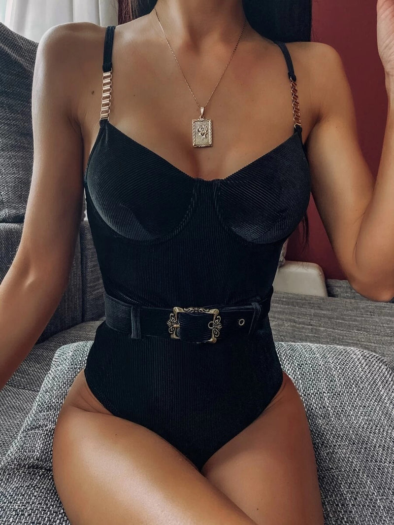 Rib Belted Velvet One Piece Swimwear