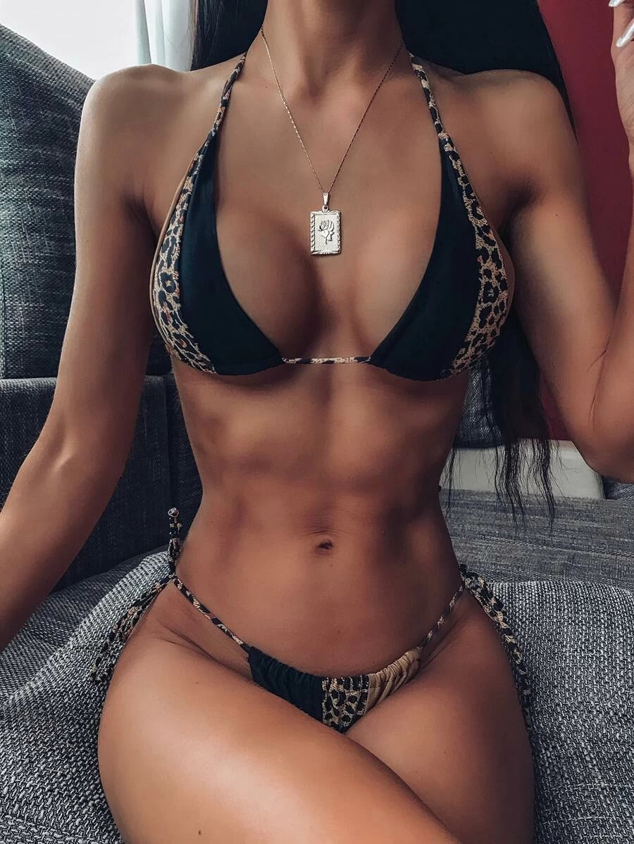 Sexy Leopard Triangle Top With High Cut Bikini Set
