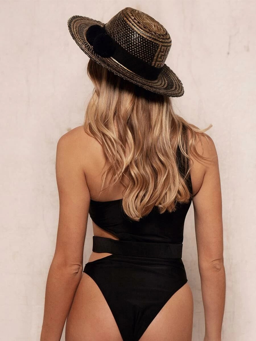 Cut-out One Shoulder Belted One Piece Swimwear