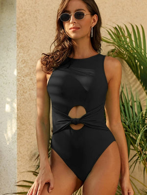 Knot Front Cut Out One Piece Swimwear