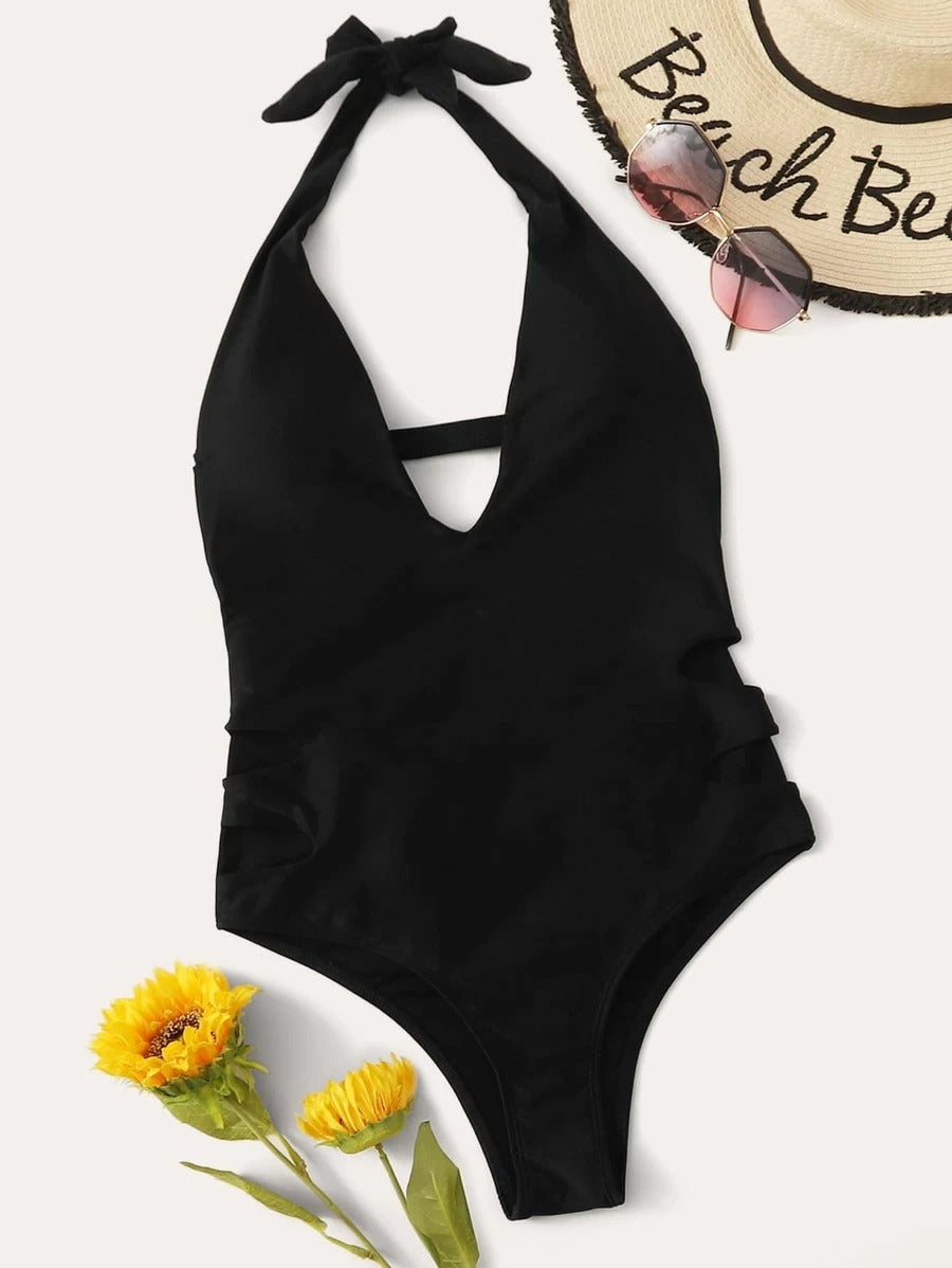 Cut Out Halter One Piece Swimwear