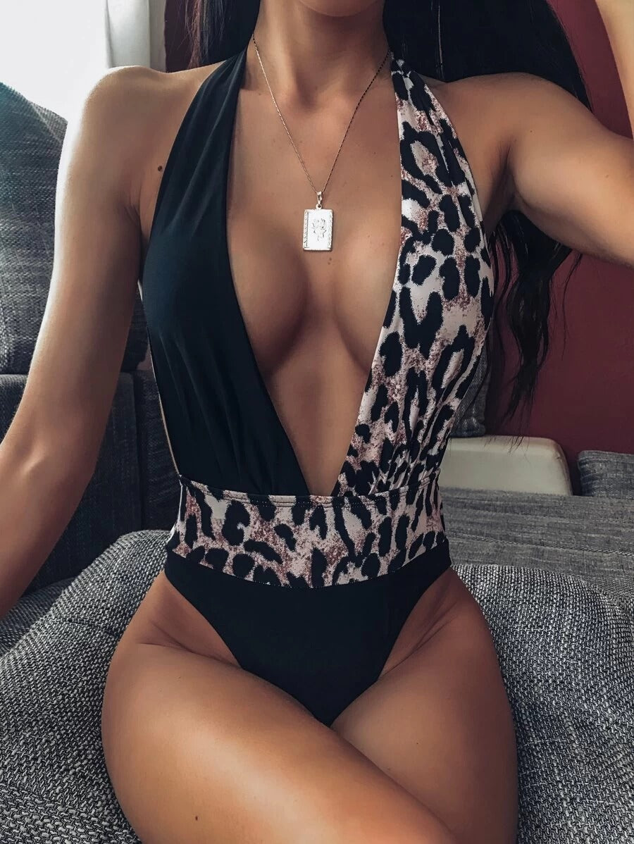 Multicolor Lace Up Patchwork High Cut One Piece Swimsuit