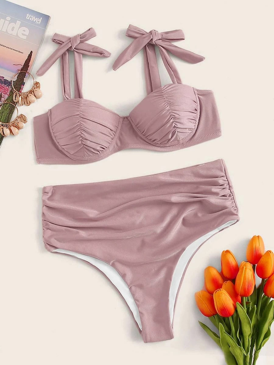 Push-Up Ruched Lace up Top With High Waist High Cut Bikini Set