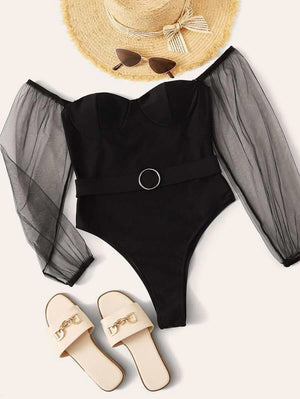 Contrast Mesh Long Sleeve Belted One Piece Swimwear