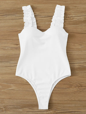 Rib Frill Trim One Piece Swimwear