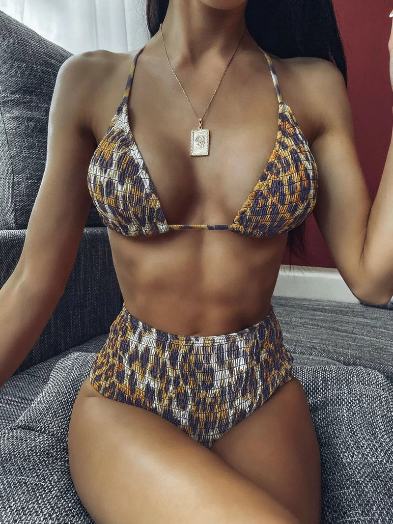 Leopard Smocked Triangle Top With High Waist Bikini Set