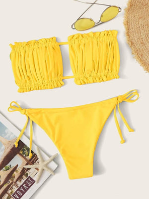 Ruched Bandeau With Tie Side Bikini Set