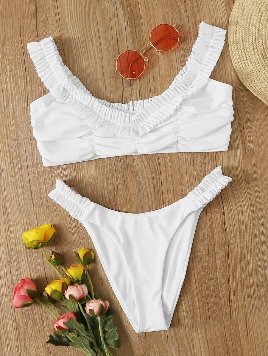 Plain Ruched Top With High Cut Bikini Set